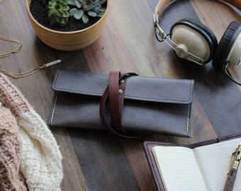 Leather Pencil Case - Grey, Pencil Pouch, Pencil Bag, Pen case, Leather Gift