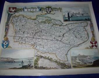 "Map of ""Kent by Thomas Moule, 1836"" Print"