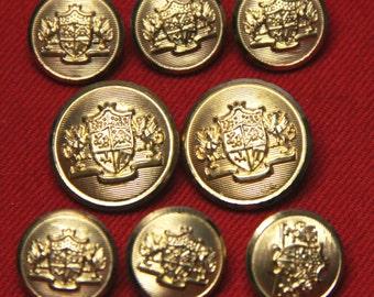 Mens Vintage Palm Beach by Waterbury Blazer Buttons Set Gold Brass Shank 1980s