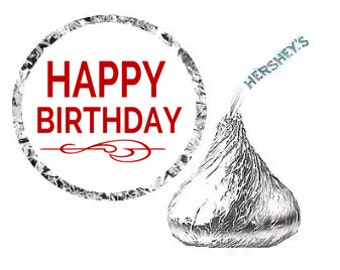 HAPPY BIRTHDAY Party Favor Hershey's Kisses Stickers / Labels -216ct red