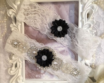 Bridal garter set/garter/Rhinestone garter/Lace garter/Prom garter/bridal garter/black garter/weddings