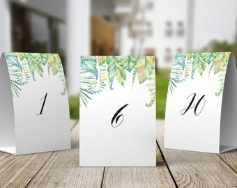 Tent Style Printable Table Number Signs, Set of 20, DIY Table Numbers - 1 to 20 Tropcial Luxe