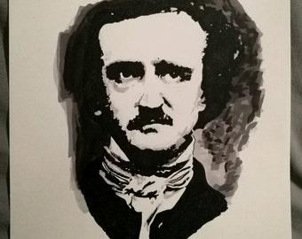 Edgar Allan Poe Ink Drawing