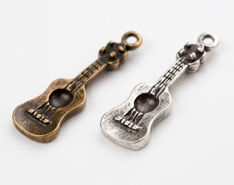 Vintage  acoustic guitar pendant,guitar charm,Charms,Small Charm,DIY necklace,DIY bracelet,jewelry making,guitar jewelry,01285
