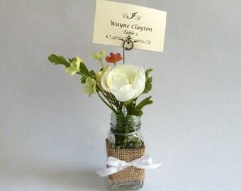 Bud vase place card holders - garden wedding - shabby chic