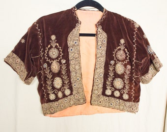 1930s Antique Ethnic Tribal  Brown Velvet Boho Embroidered Bethlehem Jacket M/L Jurusalem Bolero ~Worn by actress in The Craft to films open