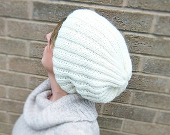 Hand Knitted Ladies Slouch Beanie Hat Creamy White Festival Fashion Stylish Birthday gift idea Ready to ship from UK