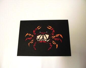 A6 Hand-Cut Geometric Crab Greetings Card