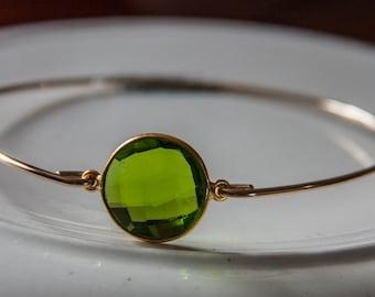 Green Peridot Quartz bangle bracelet, Green Jewelry, Hydro Quartz Jewelry, Gemstone Bracelet, Spring Fashion, Garden