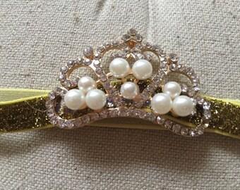 Gold Princess Tiara with pearls