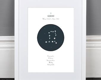 Gemini Zodiac Constellation Print