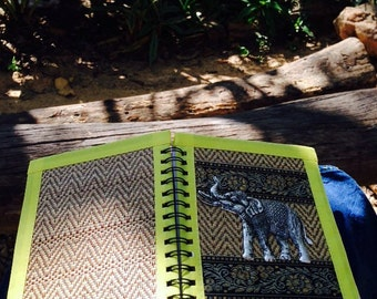 Large Journal Diary Spiral Notebook Sketch Book - Thai Elephant  Silverware - Vintage Art