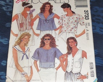 Vintage 1988 Easy McCall's Pattern #3733 Summer Tops Size A