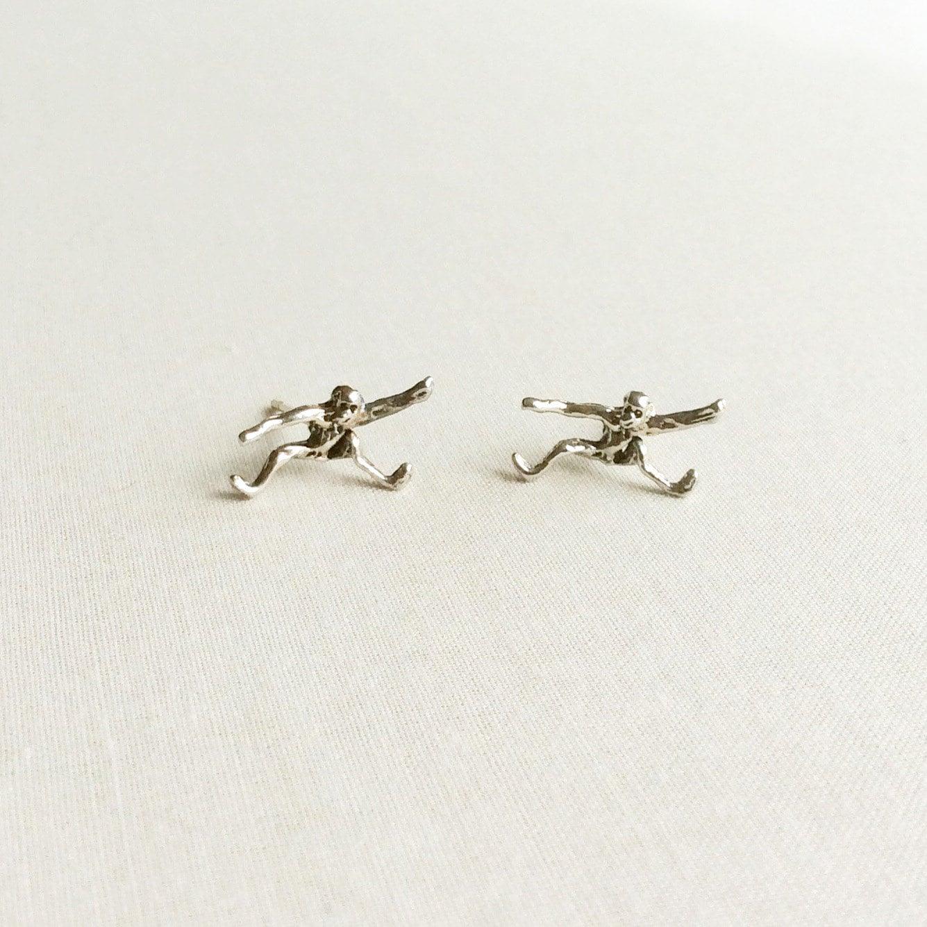 sterling silver monkey stud earrings monkey jewelry monkey