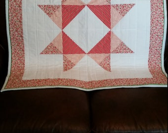 100% cotton baby quilt - red, white, pink, green