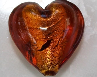 Genuine 13mm Topaz Colored Murano Glass Heart Beads.