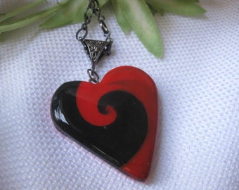 Red and Black Swirl Heart Pendant