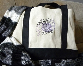 Canvas Tote Bag With Embroidered Knitting Design - Knit Happns