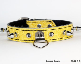 """Spiked Yellow Leather Human Collar, Yellow Human Collar, 1"""" Yellow Gator Embossed Collar with Spikes, Spiked BDSM Collar, Made In Ca"""