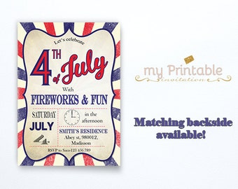 4th of July Invitations / Digital Printable Invite / DIY Party