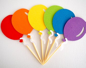 Set of 12 rainbow balloon cupcake toppers || cupcake picks birthday decor baby shower first birthday circus rainbow party party decorations
