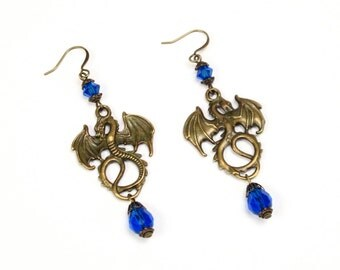 Tanis Earrings, dragon jewelry, blue sapphire crystal dragon earrings,blue dragon,Renaissance earrings,Medieval,dragon Fantasy Earring