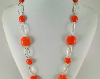 Orange necklace | Birthday Gift | Fashion jewerly | Everyday necklace | Orangee Czech Glass Necklace | Long necklace  | Hand made necklace