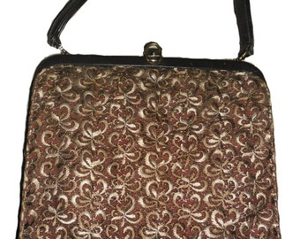 Vintage Brown Woven Tapestry handbag