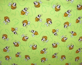 Blank A7351 Garden Critters, lime background with bees and bee trails