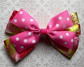 Pink Paisley Hair Bow - Boutique Hair Accessory - Grosgrain hair bow