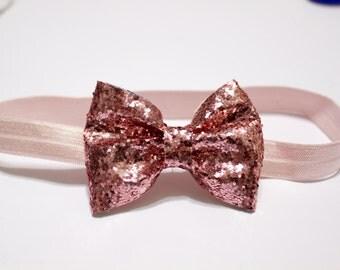 Pink Glitter Hair Bow- Baby- Toddler- Child Sparkle Headband- bubble gum elastic pink hair clip newborn adult headband