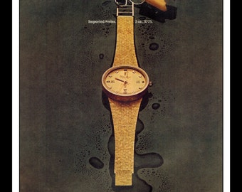 "Vintage Print Ad December 1969 : Lucien Piccard Swiss Watch Wall Art Decor 8.5"" x 11"" Print Advertisement"