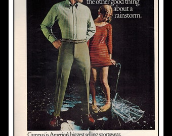 "Vintage Print Ad October 1968 : Celanese Fortrel Campus Sportswear Advertisement Color Wall Art Decor 8.5"" x 11"""