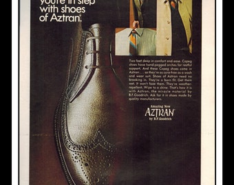 "Vintage Print Ad October 1968 : Aztran B.F. Goodrich  Shoes Advertisement Color Wall Art Decor 8.5"" x 11"""
