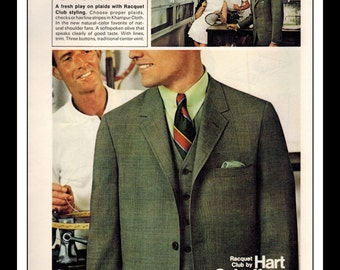 "Vintage Print Ad May 1969 : Hart Schaffner & Marx ""Racquet Club"" Advertisement Single Page Wall Art Decor 8.5"" x 11"""