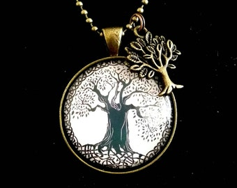 Black and white tree of life pendant necklace with tree of life charm
