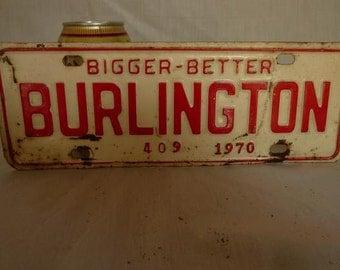 Vintage 1970 Burlington, North Carolina City Tax License Plate