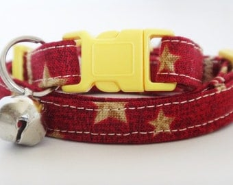 Collar - Kitten Collar - Red Fabric Cat Collar with Yellow Stars - Breakaway Cat Collar with Removable Bell - Girl or Boy Cat Collar