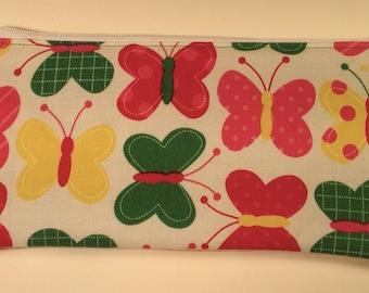 Handmade cotton pencil case / makeup bag - bright geometric butterflies