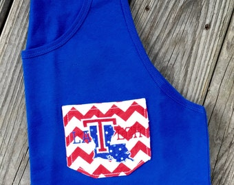 Louisiana Tech Pocket Tank womans monogram la tech bulldogs