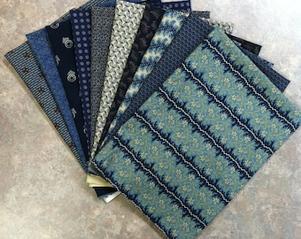 10 FAT QTR - Moda, Andover, Windham Fabric Blue Collection 10 Fat Quarter Bundle