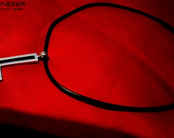 black inverted cross satanic pendant necklace