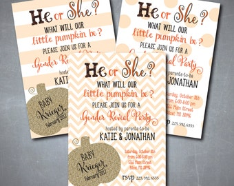 "Fall Gender Reveal Party Invitation..""Little Pumpkin"" with gold glitter detail/digital file or printing/wording can be changed"