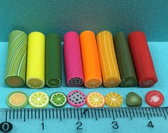 Polymer Clay Cane Mix Fruit Fimo Cane Mix Mini Fruit Sweets Deco Kwaii Nail Art Decor (8 pcs same as photos)