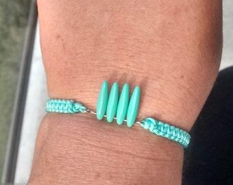Tropical Bracelet - Fringe Bracelet - Stackable Bracelet - Macrame Wrap Bracelet - Tropical Jewelry - Turquoise Bracelet - Surf Bracelet