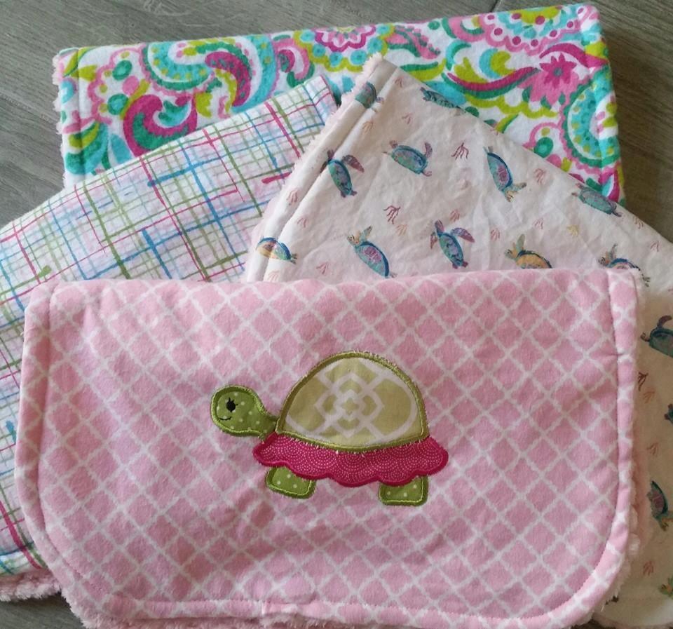 Turtle Minky Baby Girl Burp Cloths