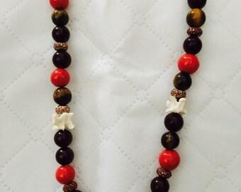 Fire Serpent Necklace: Snake Vertebra and Tigers Eye