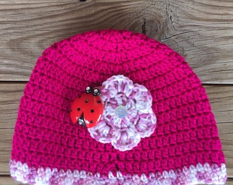 Crochet Girls beanie With lady bug and crochet flower