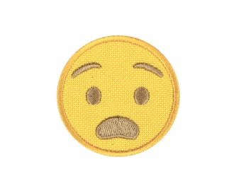 Anguished Emoji Embroidered Iron On Patch - FREE SHIPPING