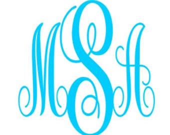 Fancy Curls/Swirly Font Vinyl Monogram Decal/Sticker Initials